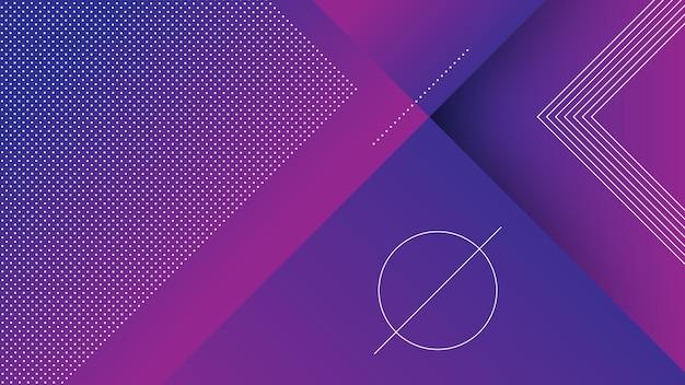 Abstrakter moderner hintergrund mit vibrierendem blauem lila farbverlauf und memphis-element