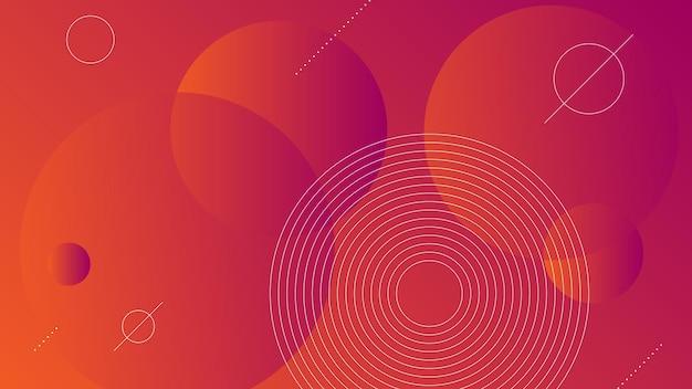 Abstrakter moderner hintergrund mit vibrierendem orange-lila farbverlauf und memphis-element
