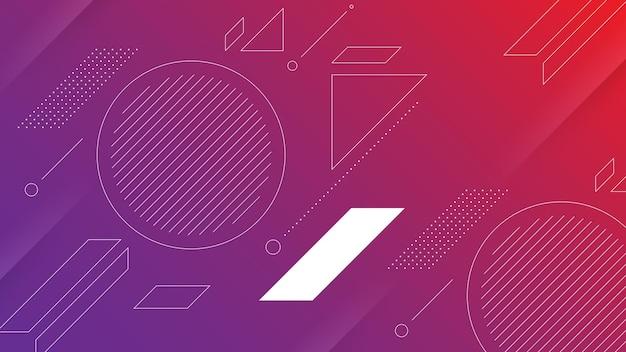 Abstrakter moderner hintergrund mit vibrierendem rotem violettem farbverlauf und memphis-element