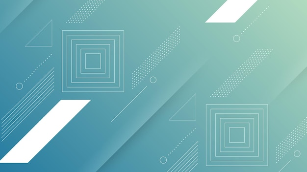 Abstrakter moderner hintergrund mit weichem blauem farbverlauf und memphis-element