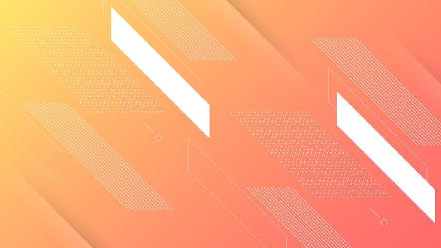 Abstrakter moderner hintergrund mit weichem orange pfirsich-farbverlauf und memphis-element