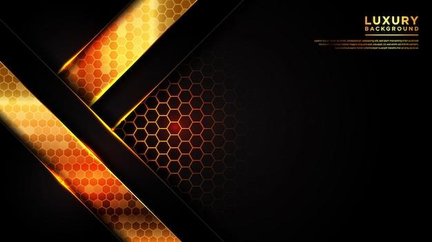 Abstrakter moderner luxushintergrund mit dunkler schwarzer farbe und linie gold sechseckig
