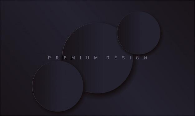 Abstrakter moderner schwarzer luxusdesignhintergrund mit realistischen papierkreisen mit schatten für fahne