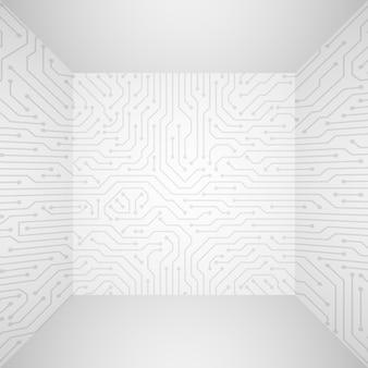 Abstrakter moderner weißer vektorhintergrund der technologie 3d mit leiterplatte. informationstechnologie-unternehmenskonzept