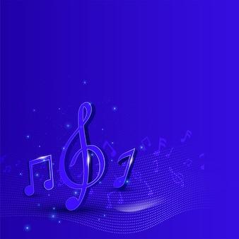 Abstrakter musikhintergrund mit 3d-render-musiknoten.