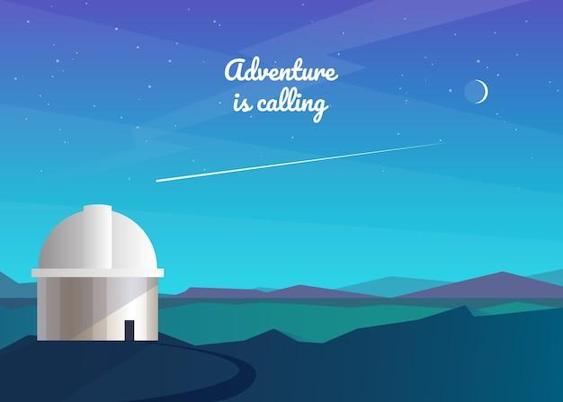 Abstrakter nachthintergrund. observatorium, beobachtung von sternen, kometen, dem mond, der milchstraße. berglandschaft. reisen, abenteuer, tourismus, wandern. .