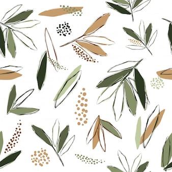 Abstrakter nahtloser musterhintergrund teebaumzeichnungs-kunstvektor und -illustration
