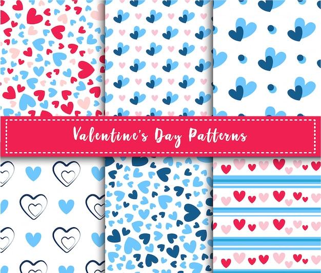 Abstrakter nahtloser mustersatz des valentinstags - rosa und blaue karikaturherzen auf weiß, streifen, geometrische formen