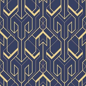 Abstrakter nahtloser mustervektor des blauen art deco