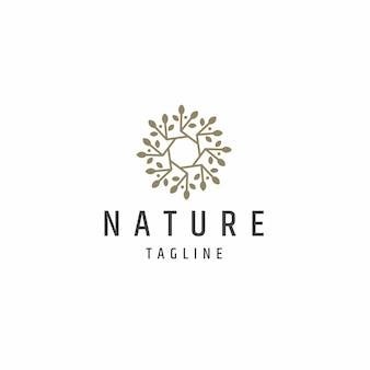 Abstrakter naturbaumblatt-logoikonen-designschablonenflacher vektor