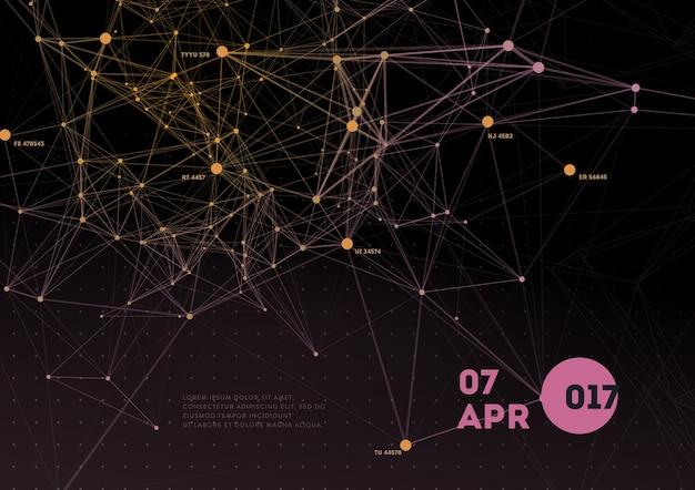Abstrakter netzhintergrund mit kreisen, linien und dreieckigen formen design layout für ihr unternehmen.