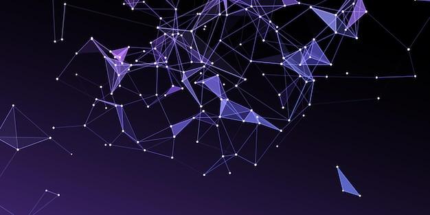 Abstrakter netzwerkkommunikationshintergrund mit low-poly-design