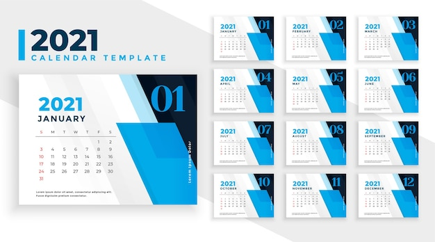 Abstrakter neujahrskalender 2021 im blauen geometrischen formstil