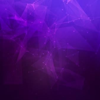 Abstrakter niedriger poly dunkelvioletter heller technologiehintergrund. verbindungsstruktur. datenwissenschaftlicher hintergrund. polygonaler hintergrund. molekül und kommunikationshintergrund.