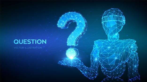 Abstrakter niedriger polygonaler roboter 3d, der fragezeichen hält. symbol fragen. helfen sie, faq-problem zu stützen, denken sie bildungskonzept.