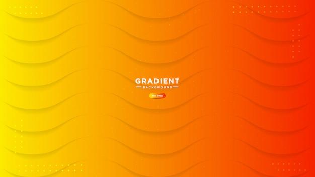 Abstrakter orange hintergrund. trendiger einfacher flüssiger farbverlauf mit linieneffekt.