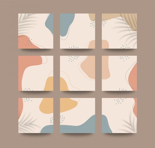 Abstrakter organischer formenhintergrund für social media grid puzzle post vorlage