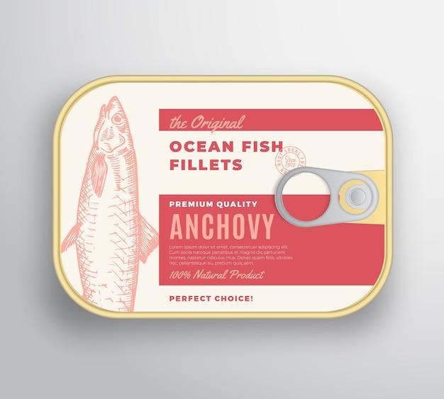 Abstrakter ozeanfischfilet-aluminiumbehälter mit etikettenabdeckung. premium-dosenverpackung.