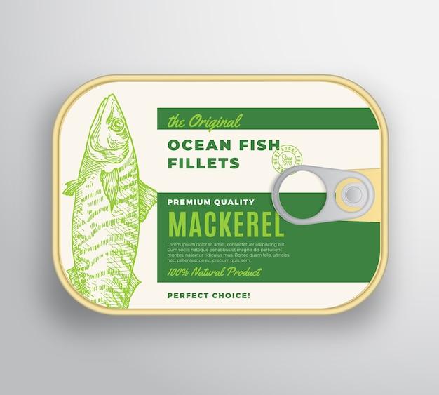 Abstrakter ozeanfischfilet-aluminiumbehälter mit etikettenabdeckung.