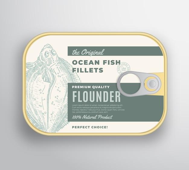 Abstrakter ozeanflachfischfilet-aluminiumbehälter mit etikettenabdeckung.