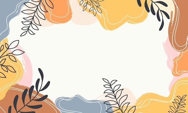 Abstrakter pastell-organischer formen-hintergrund mit blätter-beschaffenheiten, memphis-art