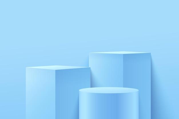 Abstrakter pastellwürfel und runde anzeige für produkt auf website in modern