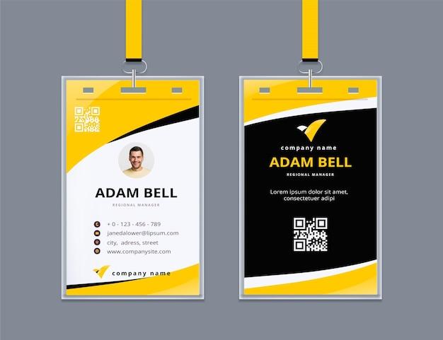 Abstrakter personalausweis mit foto Kostenlosen Vektoren