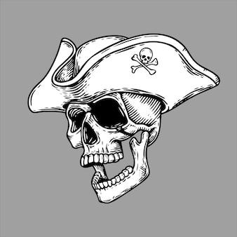 Abstrakter piratenkopfschädel mit hutformat schwarzweiss. illustration