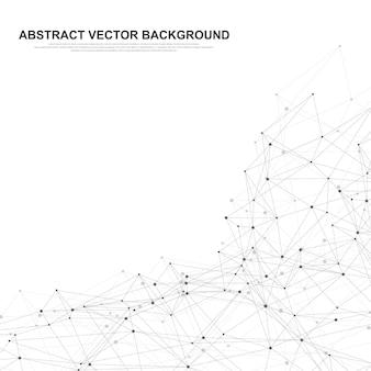 Abstrakter plexushintergrund mit verbundenen linien und punkten. wellenfluss. geometrischer effekt des plexus big data mit verbindungen. linienplexus, minimales array. digitale datenvisualisierung. vektor-illustration