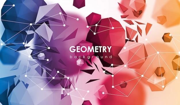 Abstrakter poligonaler hintergrund. 3d render illustration. geometrischer hintergrund mit low-poly-elementen.