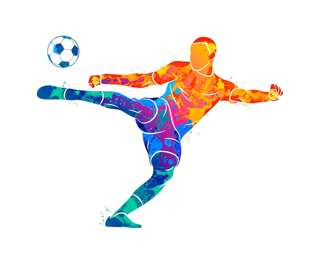 Abstrakter professioneller fußballspieler, der schnell einen ball vom spritzen von aquarellen schießt. illustration von farben