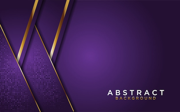 Abstrakter purpurroter überlappungshintergrund mit goldener linie
