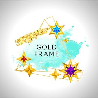 Abstrakter rahmen mit aquarellspritzer und goldenen sternen