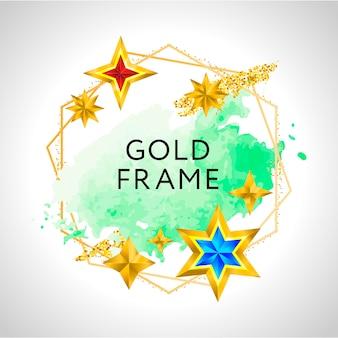 Abstrakter rahmen mit grünem aquarellspritzer und goldenen sternen