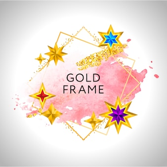 Abstrakter rahmenfeierhintergrund mit den goldenen goldenen sternen des rosa aquarells und platz für text.