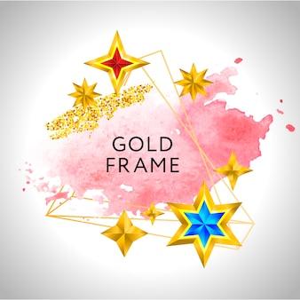 Abstrakter rahmenvektor-feierhintergrund mit goldenen sternen des rosa aquarells und platz für text.