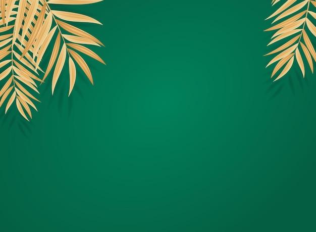 Abstrakter realistischer tropischer hintergrund des goldenen palmblattes.