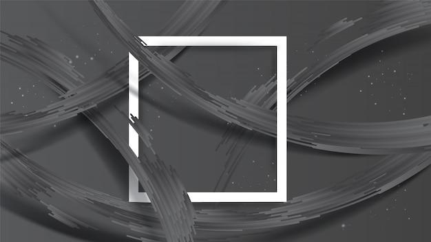 Abstrakter realistischer vorsprung der grauen streifen mit schatten auf dunkelgrauem