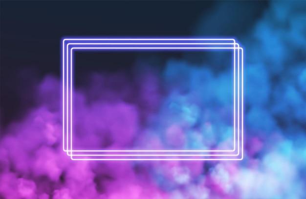 Abstrakter rechteckiger neonrahmen auf rosa rauchhintergrund
