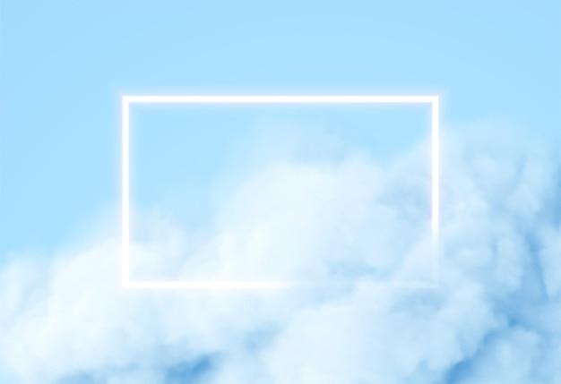 Abstrakter rechteckneonrahmen auf blauem rauchhintergrund. vektor leuchtende lichtlinien. neon- und rauchwolkenhintergrund. vektorillustration eps10