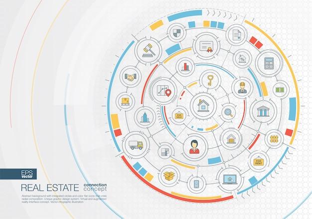 Abstrakter reisehintergrund. digitales verbindungssystem mit integrierten kreisen, farbsymbolen. radiale grafische oberfläche. zukunftskonzept. infografik illustration