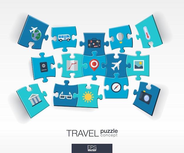 Abstrakter reisehintergrund mit verbundenen farbrätseln, integrierten symbolen. infografik-konzept mit flugzeug, gepäck, sommer, tourismusstücken in der perspektive. interaktive illustration.