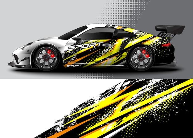 Abstrakter rennsportwagen für wrap-aufkleber-design und fahrzeuglackierung