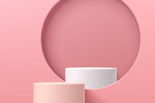 Abstrakter rosa 3d-zylindersockel oder standpodium mit podium im kreisfenster auf rosafarbener wandszene