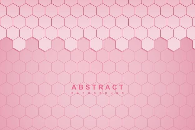 Abstrakter rosa hintergrund mit sechseckiger wabentechnologie 3d