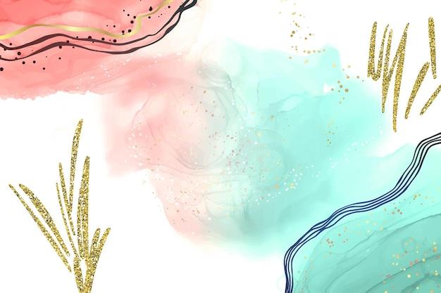 Abstrakter rosa und türkisfarbener flüssiger aquarellhintergrund mit goldenen glitzer-pinselstrichen