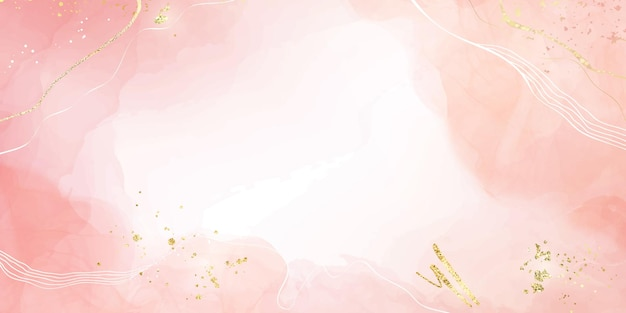Abstrakter rosafarbener flüssiger aquarellhintergrund mit goldenen glitzerflecken und -linien. rosenmarmor-alkoholtinte-zeichnungseffekt mit goldfolie. vektorillustrationsschablone für hochzeitseinladung.