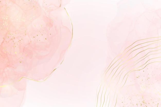 Abstrakter rosafarbener flüssiger aquarellhintergrund mit goldenen glitzerflecken und -linien