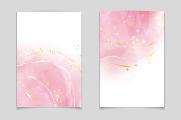 Abstrakter rosafarbener flüssiger aquarellhintergrund mit goldenen punkten und flecken