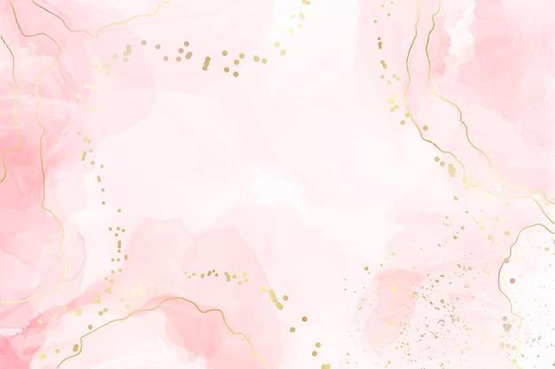 Abstrakter rosafarbener flüssiger aquarellhintergrund mit goldenen punkten und linien